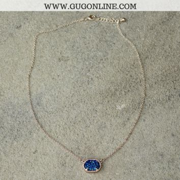 Short Gold Necklace with Navy Druzy Stone