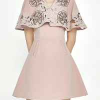 Pink Choker Neck Embroidery Cape Overlay A-line Dress