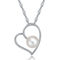 Ladies Pearl Necklace 925 Silver Pendant For Girls 3 Layer Platinum Plated with Shell Pearl Heart Shape Jewelry Necklace ON76