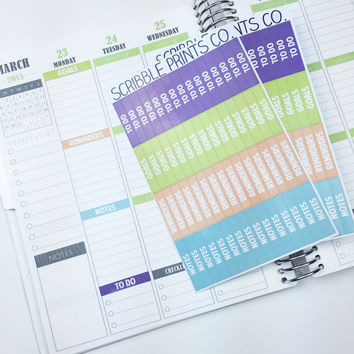 120 CUSTOM M/D/N Section Header Labels Die-Cut Stickers // (Perfect for Plum Paper Planners)