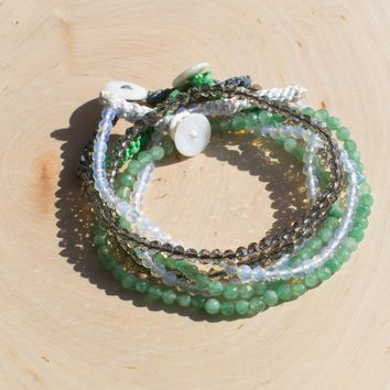 Divine Energy | Gemstone Beads Wrap Bracelet - Set of 3 | Aventurine, Moonstone and Smoky Quartz