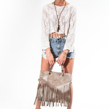 Tan Chloe Ombre Fringe Bag