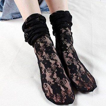 LMFONG6 HP95(TM) Fashion Women Sexy Lace Stockings Transparent Thin Silk Socks (White) (Black)