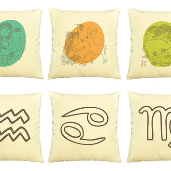 Zodiac sign  Printed Cotton Decorative Pillows Cover Cushion Case VPLC_03