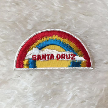 Authentic vintage 1970's Santa Cruz rainbow hippie groovy California patch travel