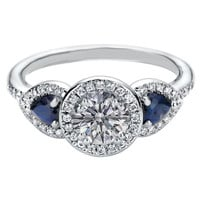 Engagement Ring - Halo Engagement Ring Blue Sapphire Side stones in 14K White Gold - ES1198