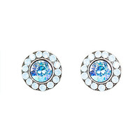 Anne Koplik Designs Blue and Air Blue Opal Swarovski Crystal Post Earrings