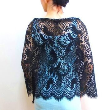 Black lace shawl, lace shrug long shawl, evening shawls wraps, plus size shawl, wrap and cover up, shoulder cover up, mother of the bride