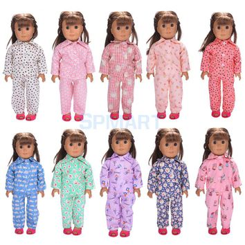Doll Pajamas Nightgown Sleepwear Clothes Outfit Top & Pants Set for 18'' inch American Girl Doll