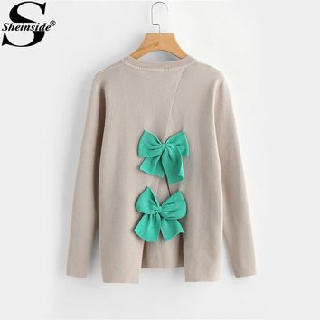 Sheinside Apricot Women Sweater Bow Embellished Overlap Back Women Sweaters and Pullovers 2017 Winter Ladies Knitted Sweater