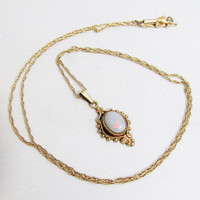 Vintage Opal Pendant with 14k Gold Chain