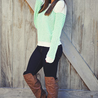 Lock Out The Cold Sweater: Mint Green | Hope's