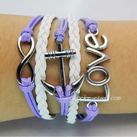 Unisex simple fashion silver 8 infinity wish, LOVE and anchor bracelet--purpel wax rope and white Leather braided leather bracelet