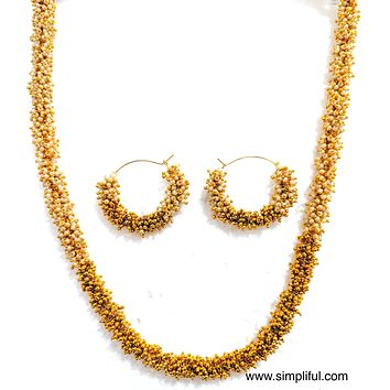 Pearl n Gold bead clustered Necklace and Earring set