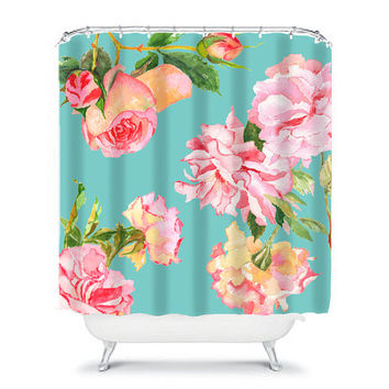 shabby chic shower curtain,rose shower curtain,floral shower curtain,shabby chic bathroom decor,rose decor,aqua, pink & white shower curtain