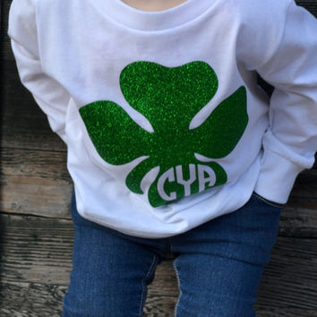 Toddler St Patricks Day Shirt with Glitter Four Leaf Clover - Shamrock - Toddler -Long Sleeve