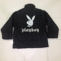 Vintage Playboy jeans down jacket / full zipper / winter jacket / ski jacket / japanesse style Large size