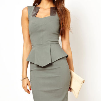 Elegant Modern Women Peplum Dress with Satin Inserts Neck  #Q229