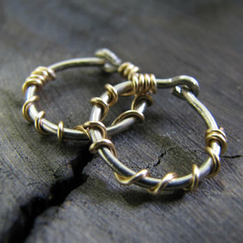 hoop earrings with silver and gold, cartilage hoop earring, conch piercing hoop, body piercing jewelry