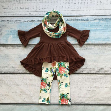 baby girls  FALL/Winter 3pieces with scarf outfits baby girls floral clothing girls  boutique clothes kids brown top outfits