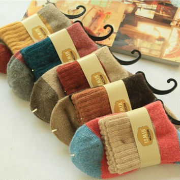 5PCS Warm Thick Stitch Crew Ladies Mid Calf Socks Cotton Set
