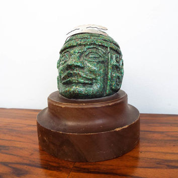 Vintage Green Stone Mayan Bust Head Sculpture Statue w/ Silver Crown