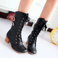 Lace Up Buckle Women Motorcycle Boots Chunky Heel 7391