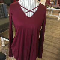 SALE Criss Cross Top Burgundy