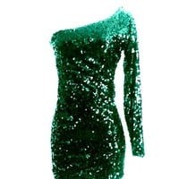 Hunter Green Sequin One Sleeve Sparkle Glitter Party Dress