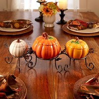 4-Pc. Ceramic Pumpkin Centerpiece Set
