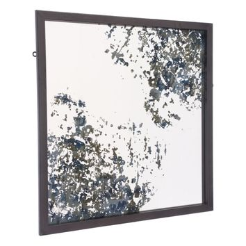 Steel Square Mirror, In Antique Blue