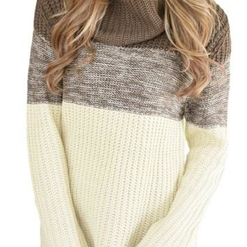 Women Brown Cowl Neck Color Blocked Sweater