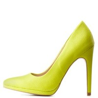 Python-Textured Pointed Toe Pumps by Charlotte Russe