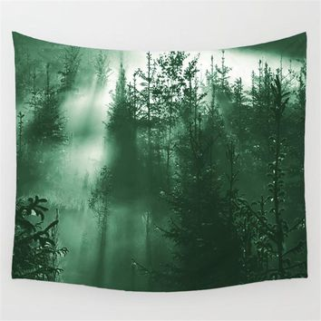Green Forest Trees Wall Art Decor Tapestry