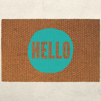 Hello Circle Welcome Doormat – Hand Painted Outdoor Rug – Custom Doormats by UrbanOwlCo – Housewarming Wedding Gift