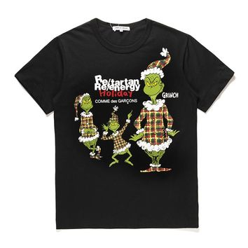 Best Deal Online Men's CDG PLAY COMME DES GARCONS Play Fashion Re-tartan Re-energy Holiday Black T-Shirt DSM limited edition