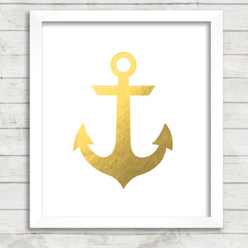 Printable Gold Anchor Print