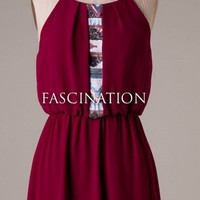 Chiffon Dress with Sequins - Burgundy