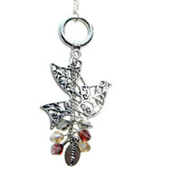 Silver Dove with Cascading Crystal Charm Necklace, Sigma Kappa
