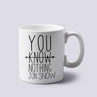 You Know Nothing Jon Snow Archer Mug Cup Two Sides 11 Oz Ceramics