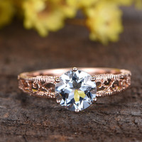 1.8 Carat Round Aquamarine Engagement Ring Solitaire 14k Rose Gold Filigree