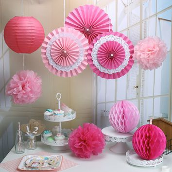 9-Piece Pink Hot PInk Party Paper Poms, Lanterm Set-DIY Girls Birthday Party | Baby Shower | Bridal Shower | Hanging Decoration Party Set