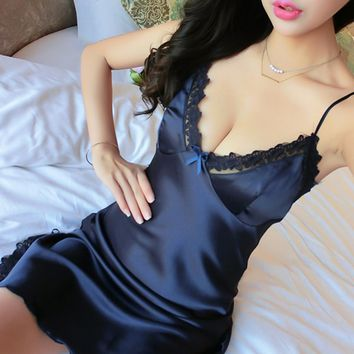 Sexy Ladies V Neck Lace Lingerie Satin Sleepwear pijama Nighties Babydoll Nightwear Women Silk Night Dress Lingerie robe de nuit