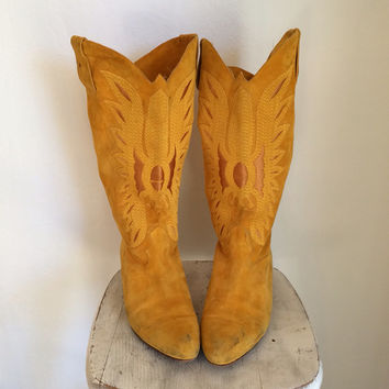 Yellow Suede Indian Print Phoenix Boot Sz 9
