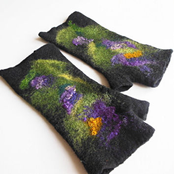 Felted mittens, Hand felted fingerless mittens, felted long gloves, felted wirst warmers, black green violet gloves, flower mittens