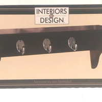 Wall Shelf with Key Holders Espresso Interiors by Design 14 x 5 x 5 inch New
