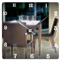 Neon table setting wall clock