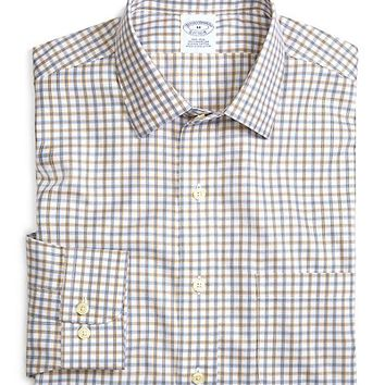 Supima® Cotton Non-Iron Slim Fit Blue with Tan Twill Sport Shirt - Brooks Brothers