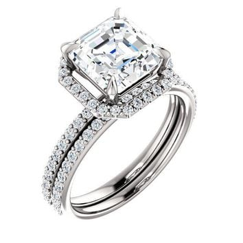 Asscher Moissanite Diamond Accent Ice Halo Ring