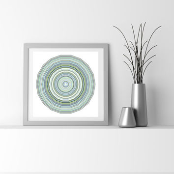 Blue and Green Abstract Art. Giclee print, Particle Star by San Francisco artist Kristin Henry. Boho Chic Decor Limited Edition flower_9g